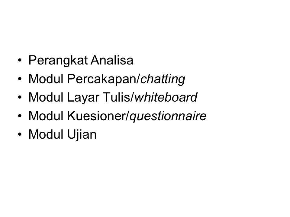 Perangkat Analisa Modul Percakapan/chatting Modul Layar Tulis/whiteboard Modul Kuesioner/questionnaire Modul Ujian