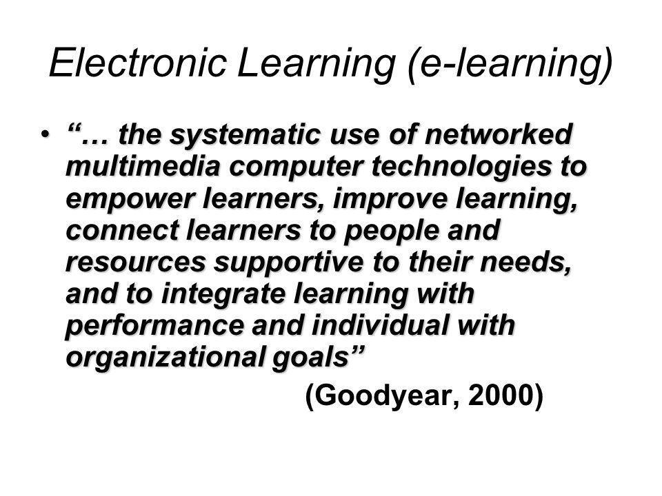 E-learning dan knowledge construction Teori belajar yang paling berpengaruh saat ini adalah teori Constructivist (Duffy & Cunningham, 1996) Constructivist learning setting  belajar adalah pemahaman yang didapatkan melalui cara-cara aktif Teknologi semakin mendukung proses ini; resource, student centered, konteks…