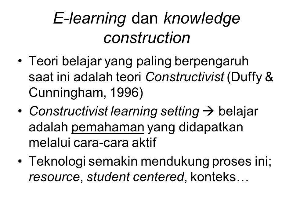 E-learning dan knowledge construction Teori belajar yang paling berpengaruh saat ini adalah teori Constructivist (Duffy & Cunningham, 1996) Constructi