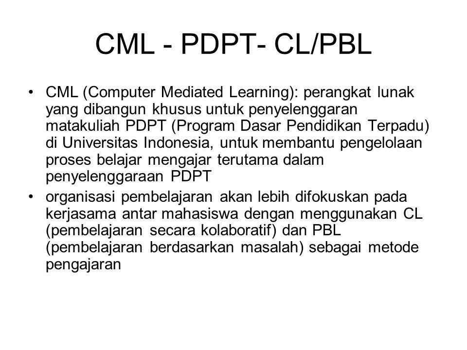 CML - PDPT- CL/PBL CML (Computer Mediated Learning): perangkat lunak yang dibangun khusus untuk penyelenggaran matakuliah PDPT (Program Dasar Pendidik