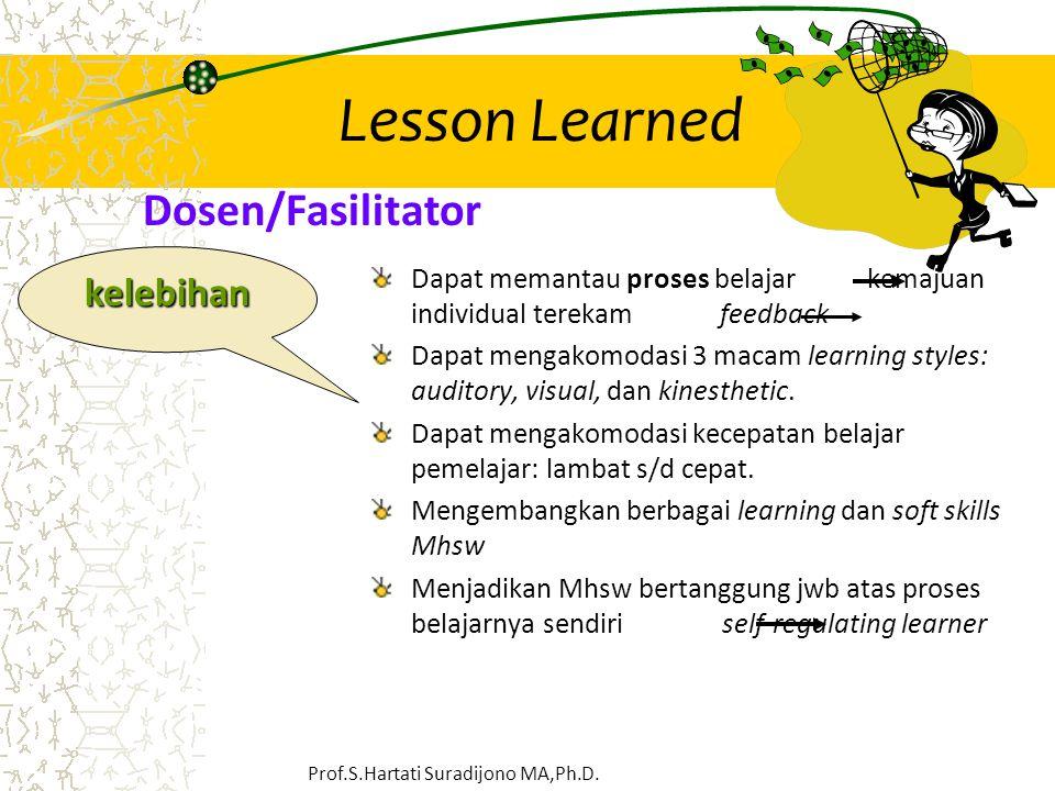 Lesson Learned Dapat memantau proses belajar kemajuan individual terekam feedback Dapat mengakomodasi 3 macam learning styles: auditory, visual, dan k