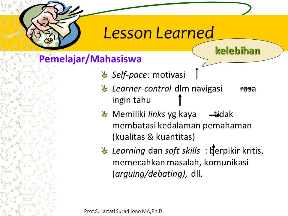 Lesson Learned Self-pace: motivasi Learner-control dlm navigasi rasa ingin tahu Memiliki links yg kaya tidak membatasi kedalaman pemahaman (kualitas &