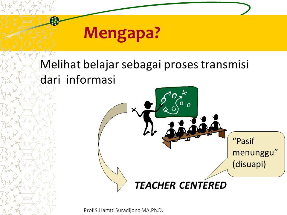 "Mengapa? Melihat belajar sebagai proses transmisi dari informasi TEACHER CENTERED ""Pasif menunggu"" (disuapi) Prof.S.Hartati Suradijono MA,Ph.D."