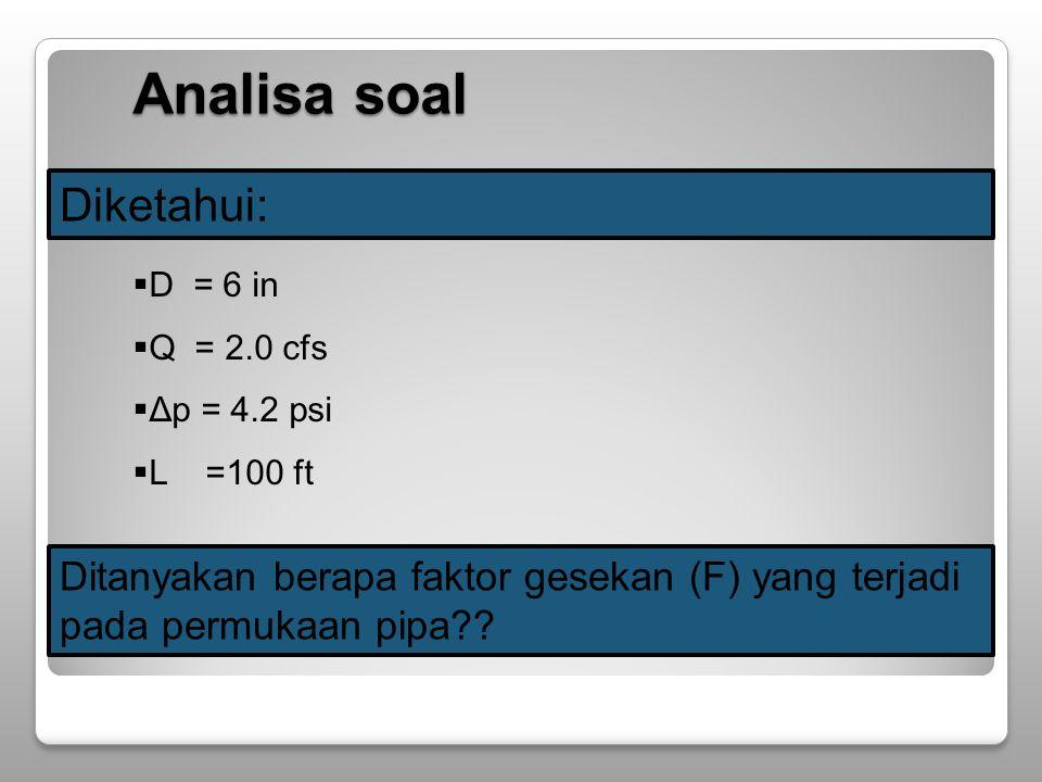 Diketahui:  D = 6 in  Q = 2.0 cfs  Δp = 4.2 psi  L =100 ft Ditanyakan berapa faktor gesekan (F) yang terjadi pada permukaan pipa?.