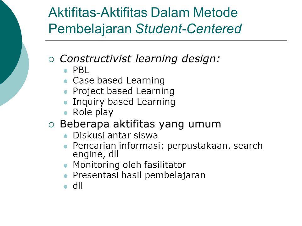 Aktifitas-Aktifitas Dalam Metode Pembelajaran Student-Centered  Constructivist learning design: PBL Case based Learning Project based Learning Inquir