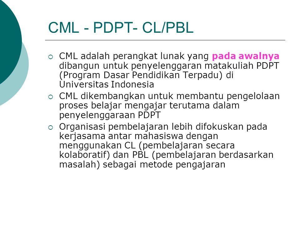 CML - PDPT- CL/PBL  CML adalah perangkat lunak yang pada awalnya dibangun untuk penyelenggaran matakuliah PDPT (Program Dasar Pendidikan Terpadu) di