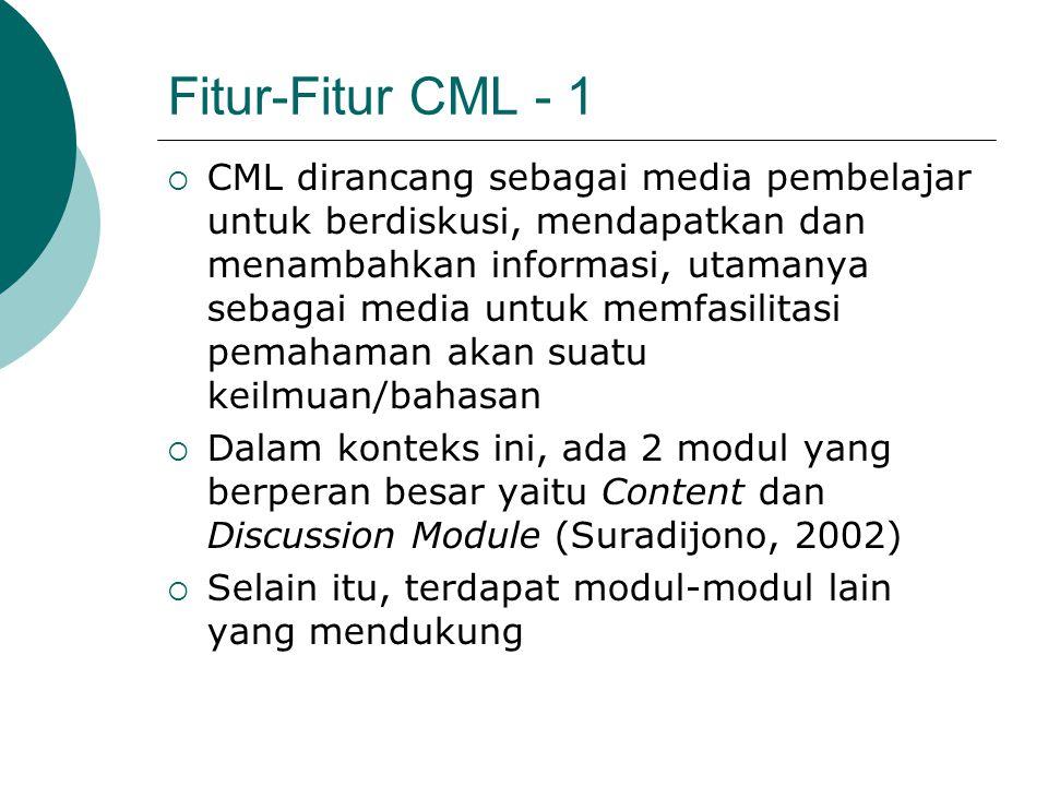 Fitur-Fitur CML - 1  CML dirancang sebagai media pembelajar untuk berdiskusi, mendapatkan dan menambahkan informasi, utamanya sebagai media untuk mem