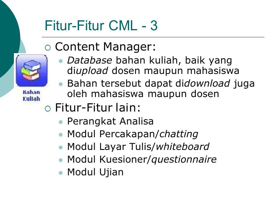 Fitur-Fitur CML - 3  Content Manager: Database bahan kuliah, baik yang diupload dosen maupun mahasiswa Bahan tersebut dapat didownload juga oleh maha