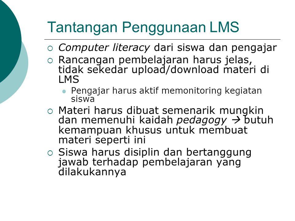Tantangan Penggunaan LMS  Computer literacy dari siswa dan pengajar  Rancangan pembelajaran harus jelas, tidak sekedar upload/download materi di LMS