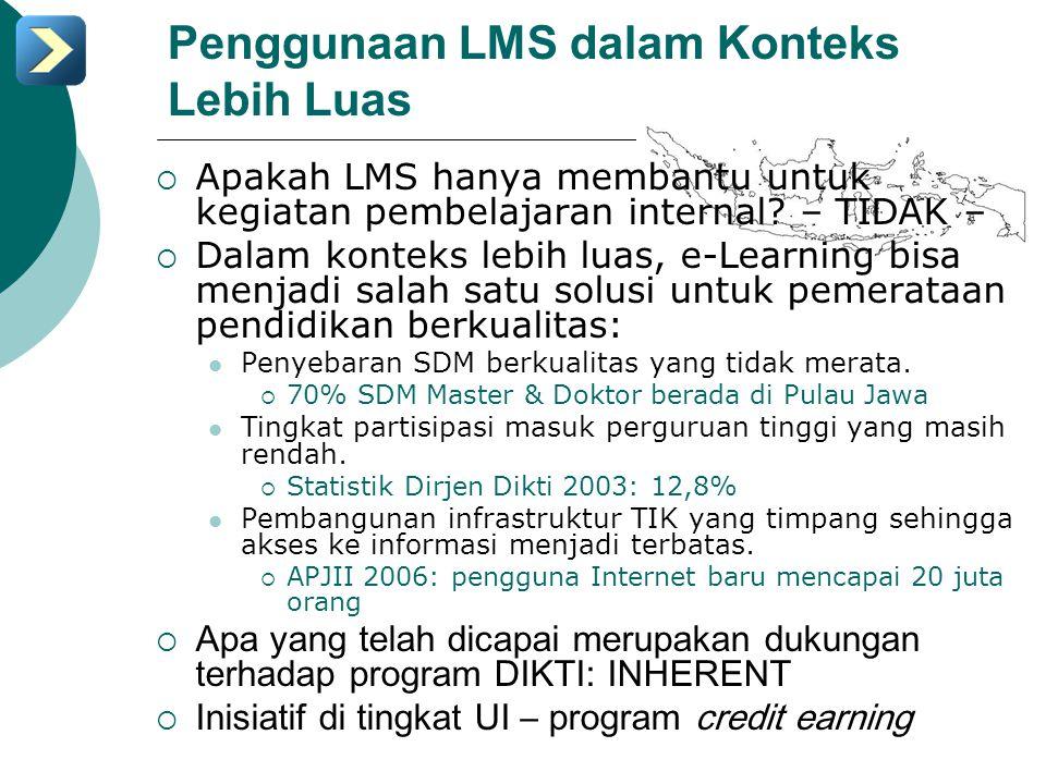 Penggunaan LMS dalam Konteks Lebih Luas  Apakah LMS hanya membantu untuk kegiatan pembelajaran internal? – TIDAK –  Dalam konteks lebih luas, e-Lear