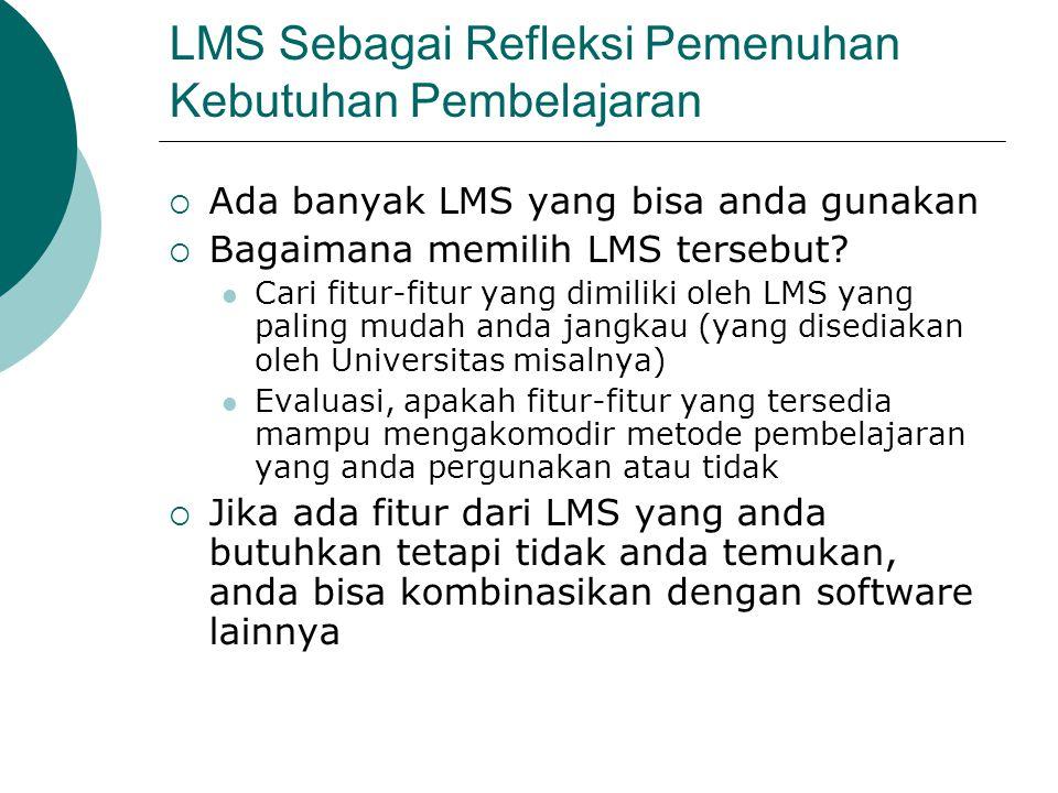 Pemanfaatan LMS  Explorasi semua fitur-fitur yang disediakan oleh LMS  Apabila ada fitur yang dianggap bermanfaat untuk mengkonstruksi pengetahuan siswa, manfaatkan sebaik- baiknya fitur tersebut Jurnal harian Wiki Glossary Test online untuk mengukur kemampuan siswa dll