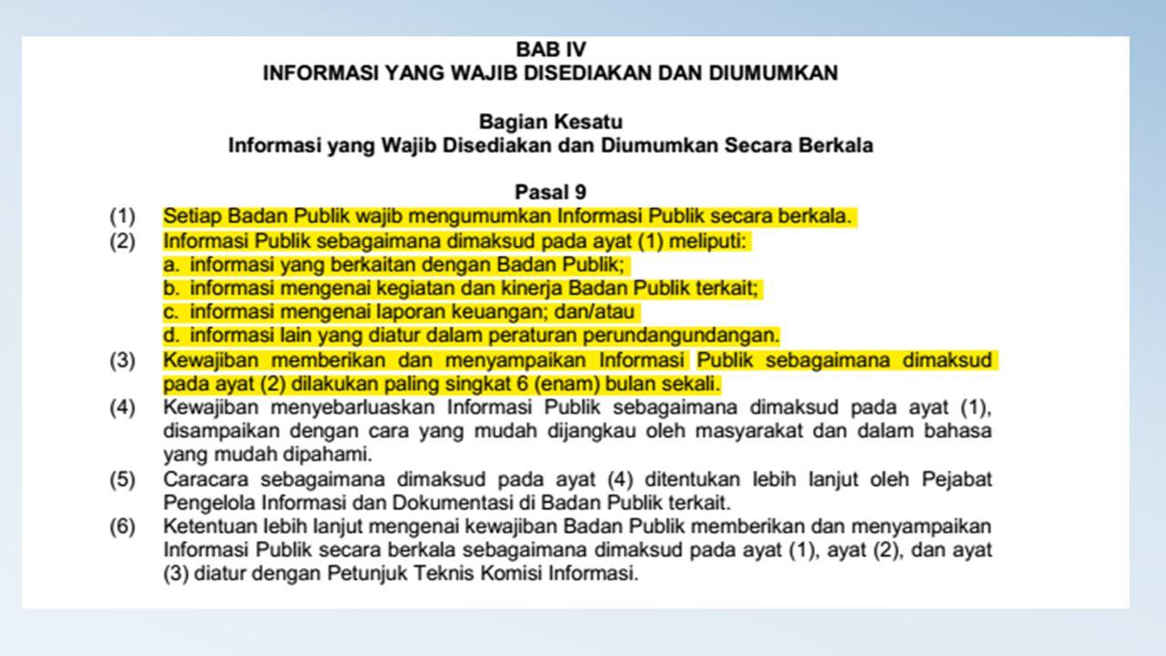 Dari Pasal tsb, Maka Informasi yang Wajib Ada di Website Masing-masing Unit Profile, meliputi : 1.