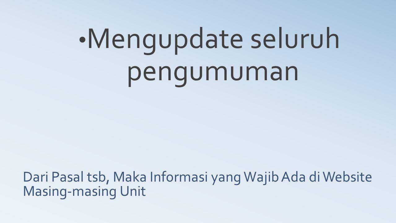 Dari Pasal tsb, Maka Informasi yang Wajib Ada di Website Masing-masing Unit Mengupdate seluruh pengumuman