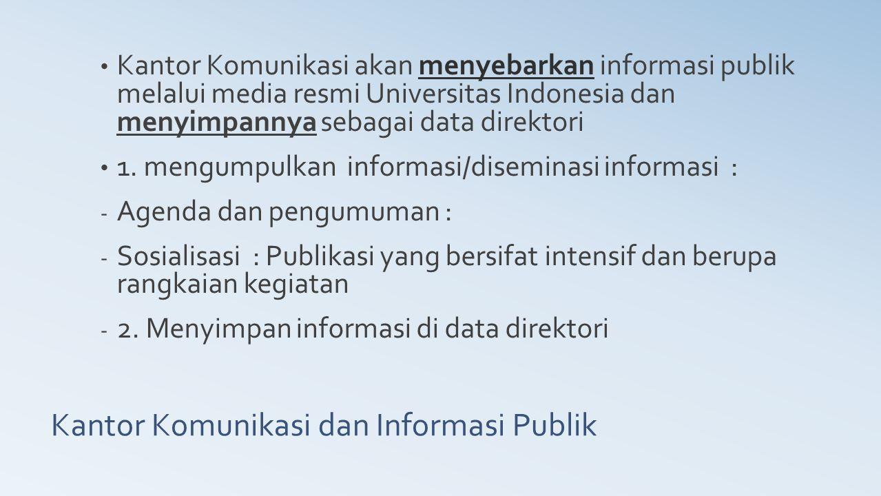 Kantor Komunikasi dan Informasi Publik Kantor Komunikasi akan menyebarkan informasi publik melalui media resmi Universitas Indonesia dan menyimpannya