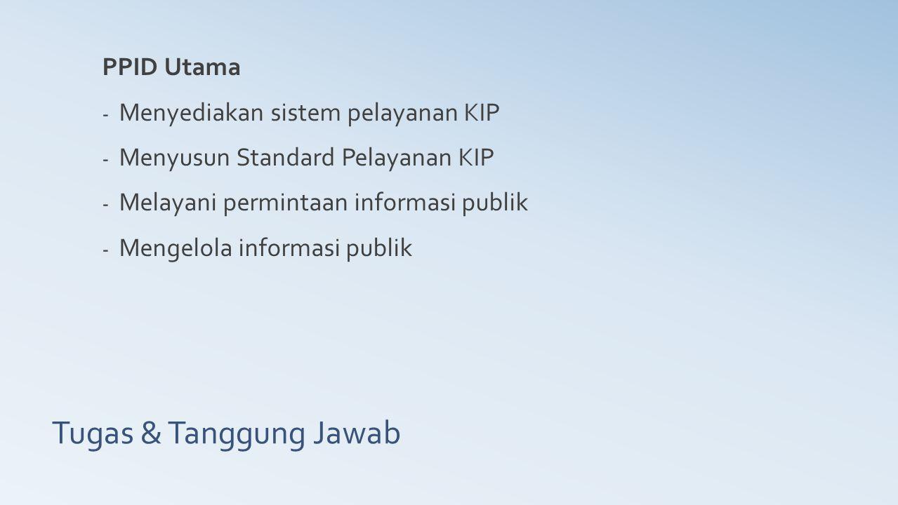 Tugas & Tanggung Jawab PPID Utama - Menyediakan sistem pelayanan KIP - Menyusun Standard Pelayanan KIP - Melayani permintaan informasi publik - Mengel