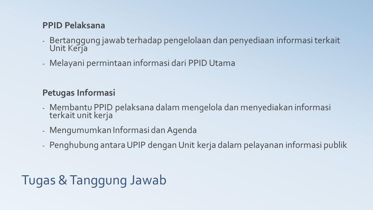 Tugas & Tanggung Jawab PPID Pelaksana - Bertanggung jawab terhadap pengelolaan dan penyediaan informasi terkait Unit Kerja - Melayani permintaan infor