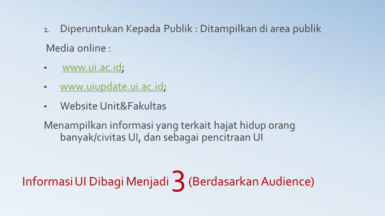 Informasi UI Dibagi Menjadi 3 (Berdasarkan Audience) 1. Diperuntukan Kepada Publik : Ditampilkan di area publik Media online : www.ui.ac.id;www.ui.ac.