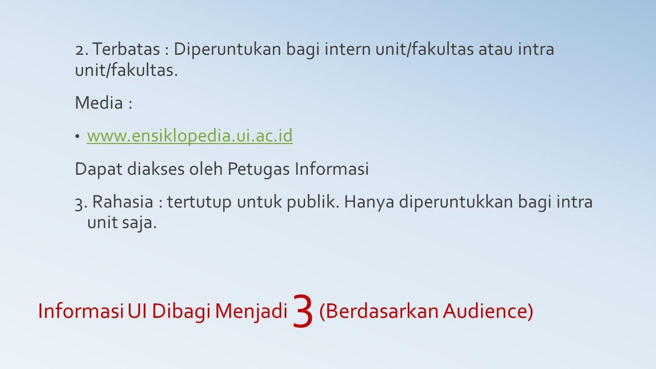 Informasi UI Dibagi Menjadi 3 (Berdasarkan Audience) 2. Terbatas : Diperuntukan bagi intern unit/fakultas atau intra unit/fakultas. Media : www.ensikl