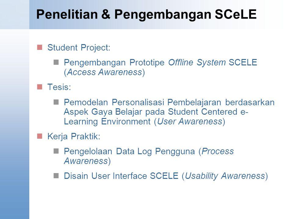 Penelitian & Pengembangan SCeLE Student Project: Pengembangan Prototipe Offline System SCELE (Access Awareness) Tesis: Pemodelan Personalisasi Pembelajaran berdasarkan Aspek Gaya Belajar pada Student Centered e- Learning Environment (User Awareness) Kerja Praktik: Pengelolaan Data Log Pengguna (Process Awareness) Disain User Interface SCELE (Usability Awareness)