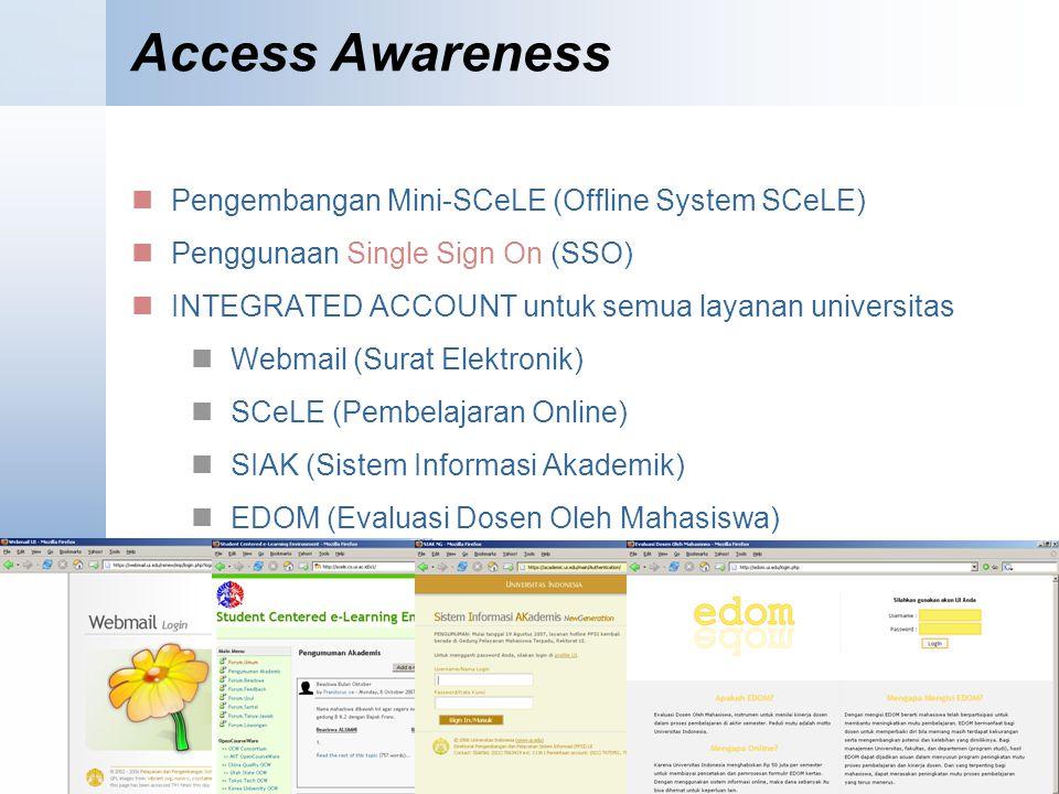 Access Awareness Pengembangan Mini-SCeLE (Offline System SCeLE) Penggunaan Single Sign On (SSO) INTEGRATED ACCOUNT untuk semua layanan universitas Webmail (Surat Elektronik) SCeLE (Pembelajaran Online) SIAK (Sistem Informasi Akademik) EDOM (Evaluasi Dosen Oleh Mahasiswa)