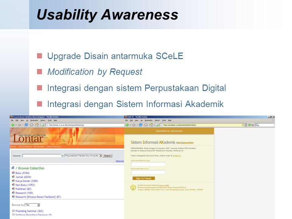 Usability Awareness Upgrade Disain antarmuka SCeLE Modification by Request Integrasi dengan sistem Perpustakaan Digital Integrasi dengan Sistem Informasi Akademik