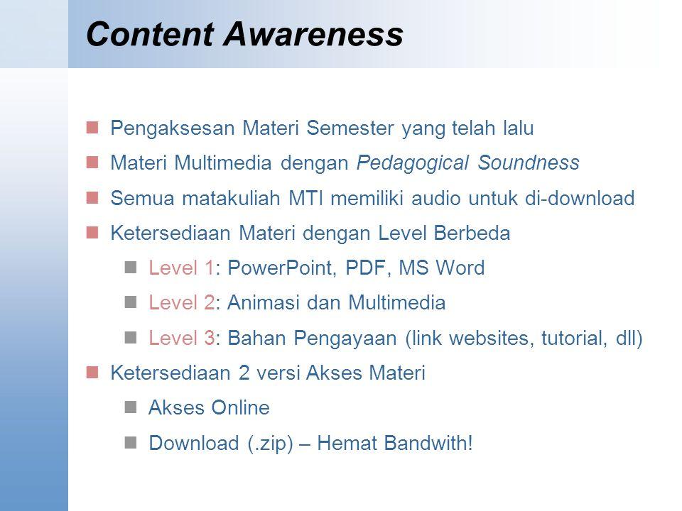 Content Awareness Pengaksesan Materi Semester yang telah lalu Materi Multimedia dengan Pedagogical Soundness Semua matakuliah MTI memiliki audio untuk