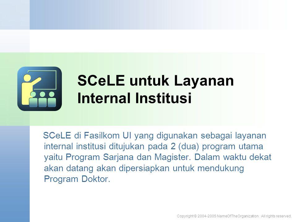 SCeLE untuk Layanan Internal Institusi SCeLE di Fasilkom UI yang digunakan sebagai layanan internal institusi ditujukan pada 2 (dua) program utama yaitu Program Sarjana dan Magister.