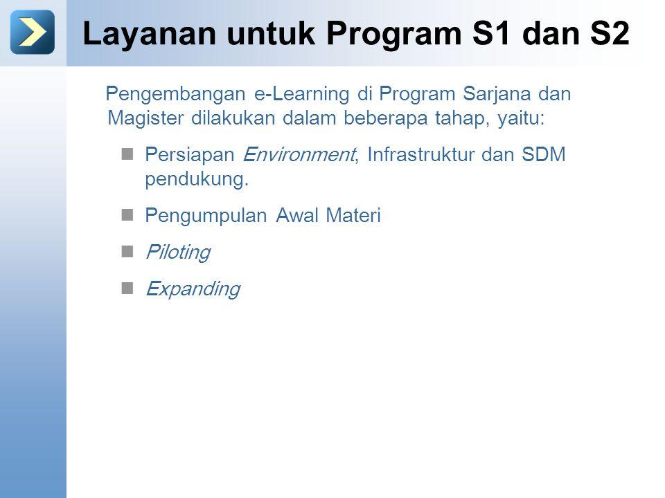Layanan untuk Program S1 dan S2 Pengembangan e-Learning di Program Sarjana dan Magister dilakukan dalam beberapa tahap, yaitu: Persiapan Environment, Infrastruktur dan SDM pendukung.