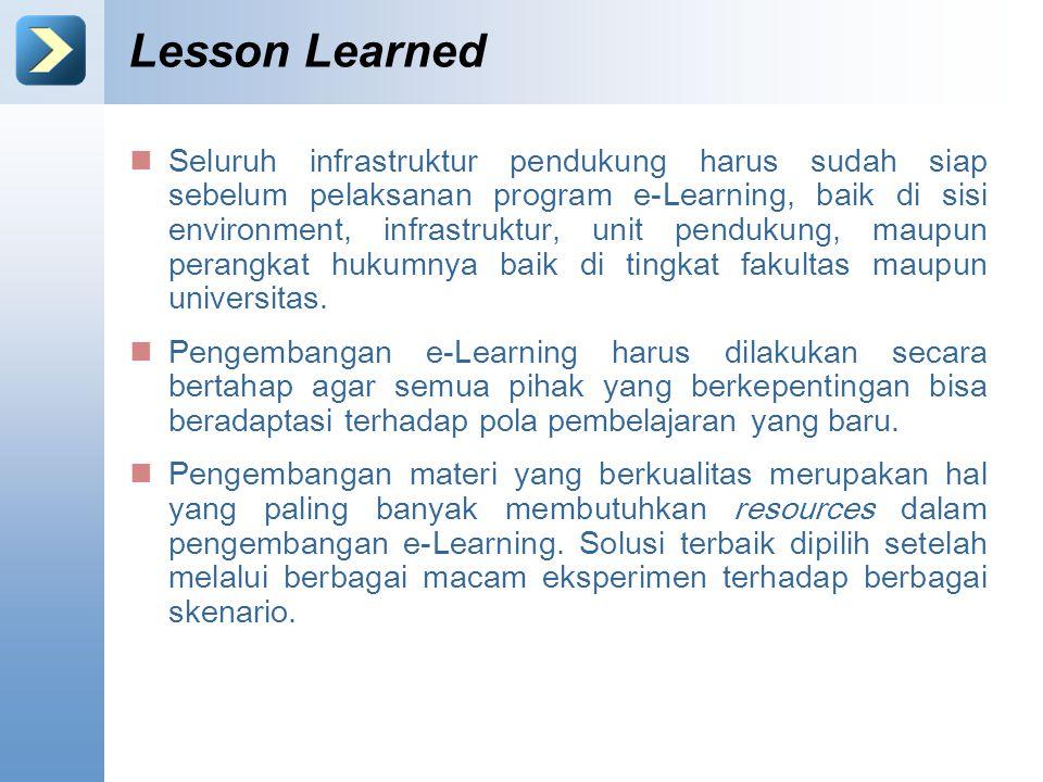Lesson Learned Seluruh infrastruktur pendukung harus sudah siap sebelum pelaksanan program e-Learning, baik di sisi environment, infrastruktur, unit p
