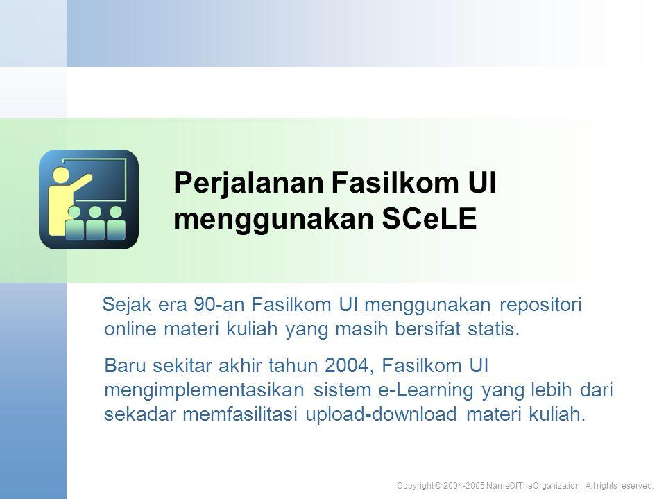 Perjalanan Fasilkom UI menggunakan SCeLE Sejak era 90-an Fasilkom UI menggunakan repositori online materi kuliah yang masih bersifat statis. Baru seki