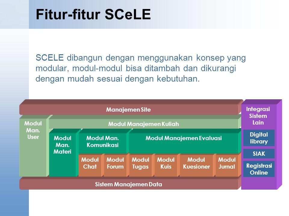 Fitur-fitur SCeLE SCELE dibangun dengan menggunakan konsep yang modular, modul-modul bisa ditambah dan dikurangi dengan mudah sesuai dengan kebutuhan.
