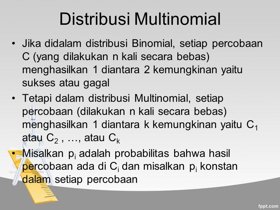 Distribusi Multinomial Jika didalam distribusi Binomial, setiap percobaan C (yang dilakukan n kali secara bebas) menghasilkan 1 diantara 2 kemungkinan