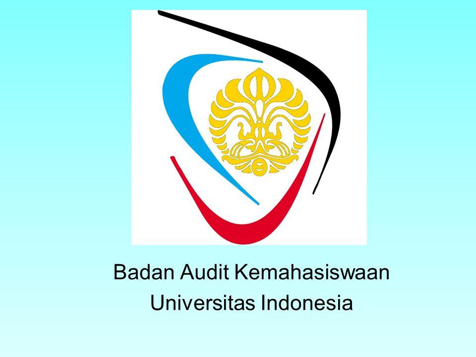 Menjadi lembaga audit kemahasiswaan yang independen dan profesional yang secara aktif berusaha mewujudkan tata kelola organisasi yang baik di lingkungan mahasiswa Universitas Indonesia 17 Juli 092Badan Audit Kemahasiswaan UI