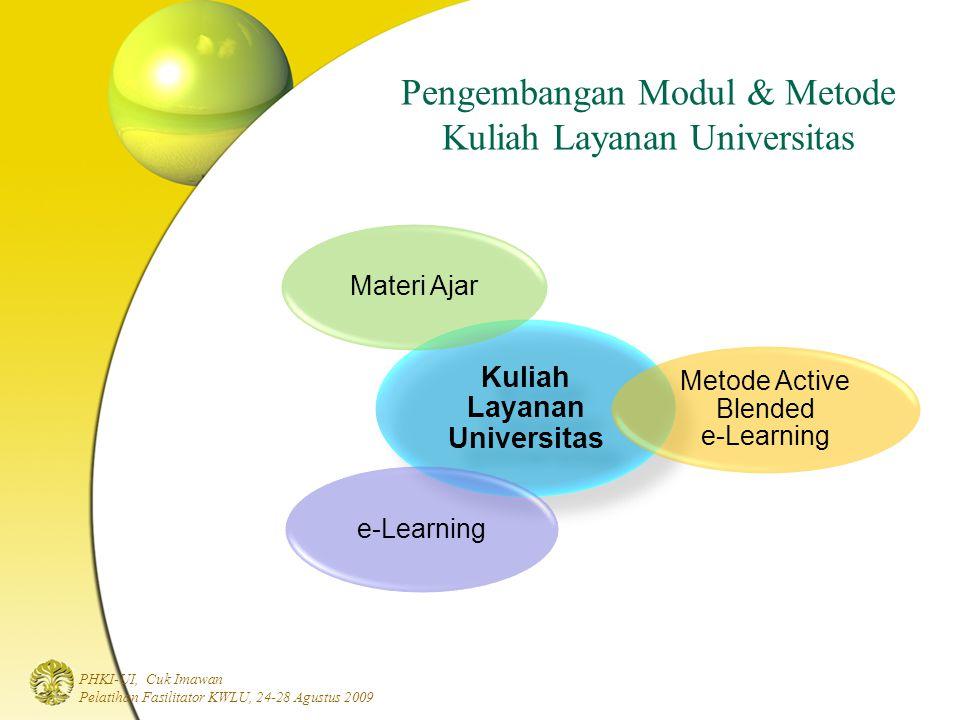 PHKI-UI, Cuk Imawan Pelatihan Fasilitator KWLU, 24-28 Agustus 2009 Pengembangan Modul & Metode Kuliah Layanan Universitas Kuliah Layanan Universitas Materi Ajar Metode Active Blended e-Learning e-Learning