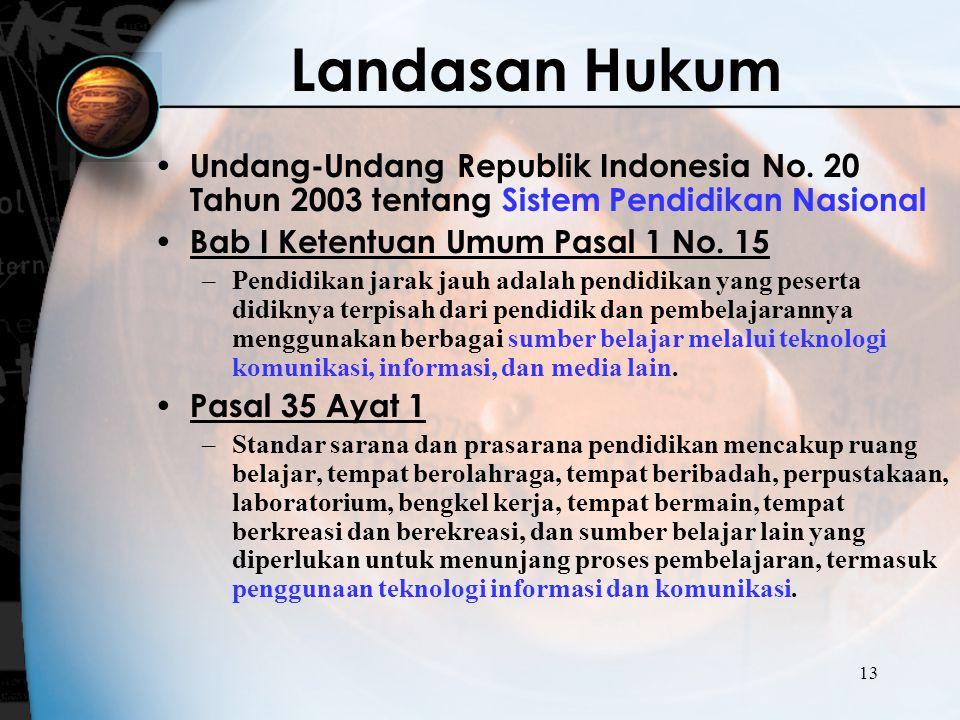 13 Landasan Hukum Undang-Undang Republik Indonesia No. 20 Tahun 2003 tentang Sistem Pendidikan Nasional Bab I Ketentuan Umum Pasal 1 No. 15 –Pendidika