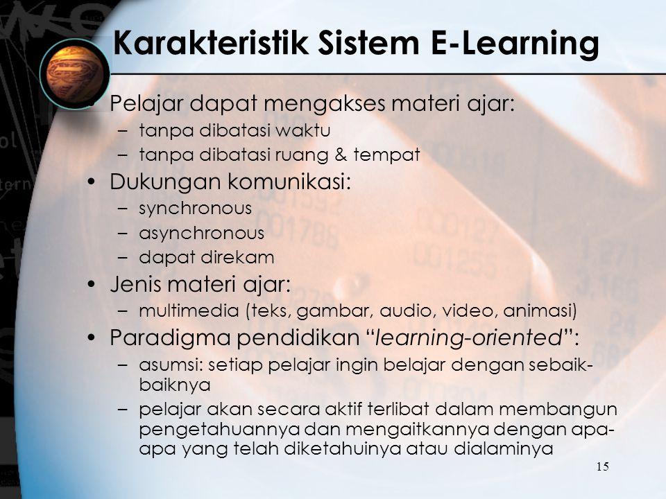 15 Karakteristik Sistem E-Learning Pelajar dapat mengakses materi ajar: –tanpa dibatasi waktu –tanpa dibatasi ruang & tempat Dukungan komunikasi: –syn