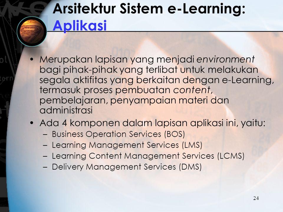 24 Arsitektur Sistem e-Learning: Aplikasi Merupakan lapisan yang menjadi environment bagi pihak-pihak yang terlibat untuk melakukan segala aktifitas y