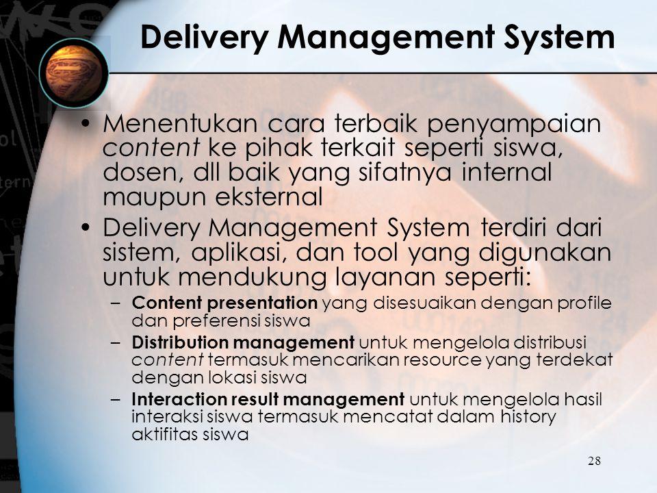 28 Delivery Management System Menentukan cara terbaik penyampaian content ke pihak terkait seperti siswa, dosen, dll baik yang sifatnya internal maupu