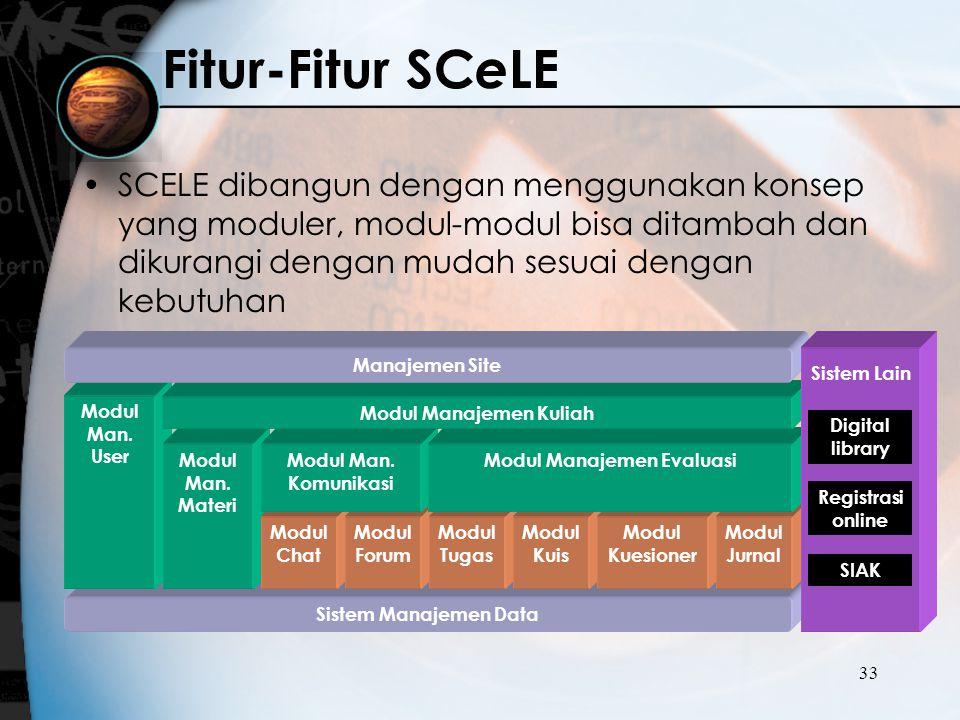 33 SCELE dibangun dengan menggunakan konsep yang moduler, modul-modul bisa ditambah dan dikurangi dengan mudah sesuai dengan kebutuhan Fitur-Fitur SC