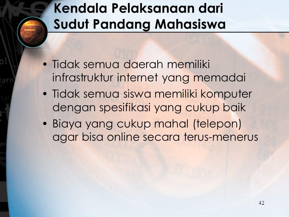 42 Kendala Pelaksanaan dari Sudut Pandang Mahasiswa Tidak semua daerah memiliki infrastruktur internet yang memadai Tidak semua siswa memiliki kompute