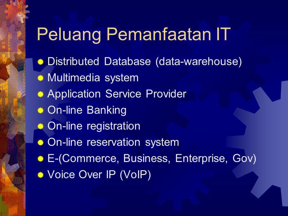 Peluang Pemanfaatan IT  Distributed Database (data-warehouse)  Multimedia system  Application Service Provider  On-line Banking  On-line registra