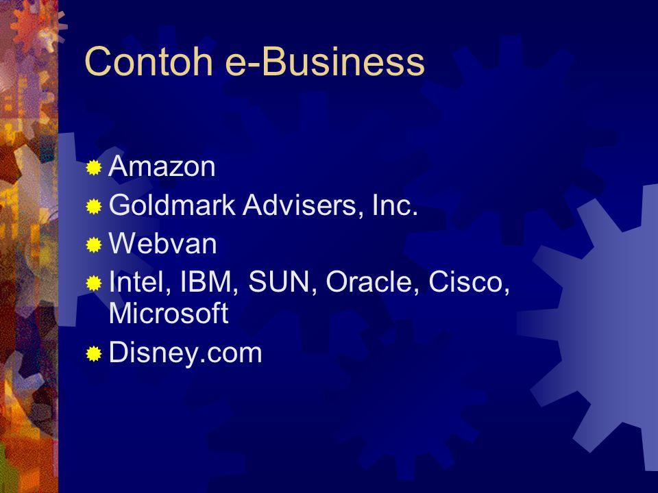 Contoh e-Business  Amazon  Goldmark Advisers, Inc.  Webvan  Intel, IBM, SUN, Oracle, Cisco, Microsoft  Disney.com