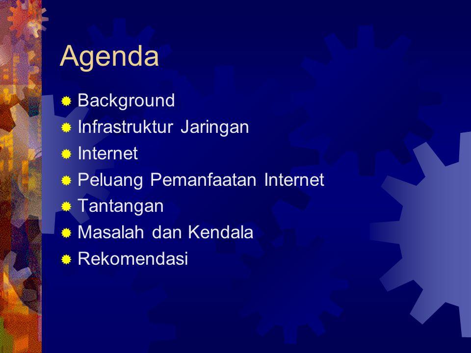 Agenda  Background  Infrastruktur Jaringan  Internet  Peluang Pemanfaatan Internet  Tantangan  Masalah dan Kendala  Rekomendasi