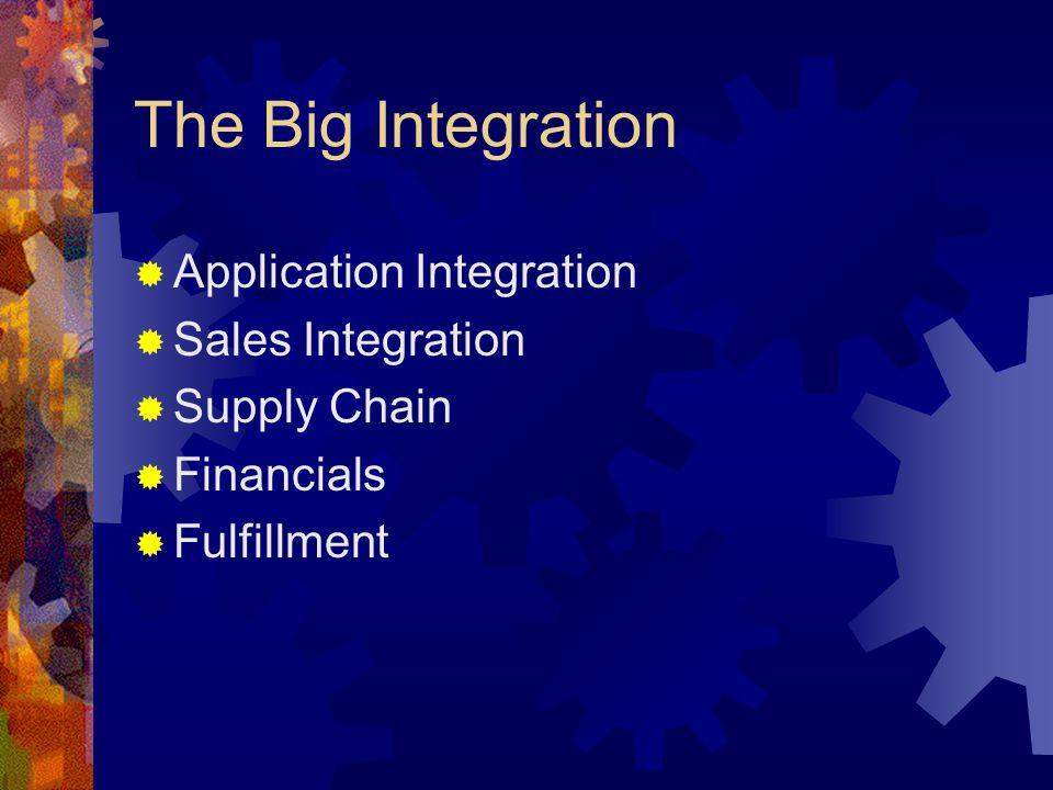 The Big Integration  Application Integration  Sales Integration  Supply Chain  Financials  Fulfillment