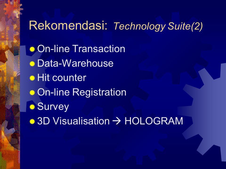  On-line Transaction  Data-Warehouse  Hit counter  On-line Registration  Survey  3D Visualisation  HOLOGRAM Rekomendasi: Technology Suite(2)