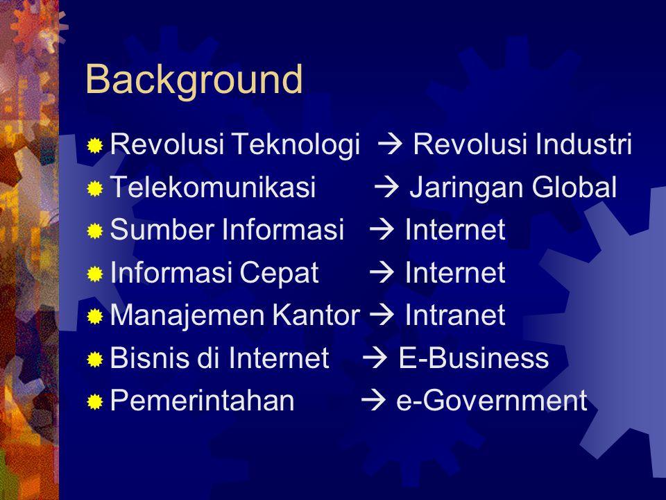 Background  Revolusi Teknologi  Revolusi Industri  Telekomunikasi  Jaringan Global  Sumber Informasi  Internet  Informasi Cepat  Internet  Ma