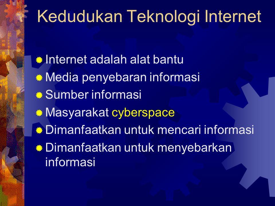 Kedudukan Teknologi Internet  Internet adalah alat bantu  Media penyebaran informasi  Sumber informasi  Masyarakat cyberspace  Dimanfaatkan untuk