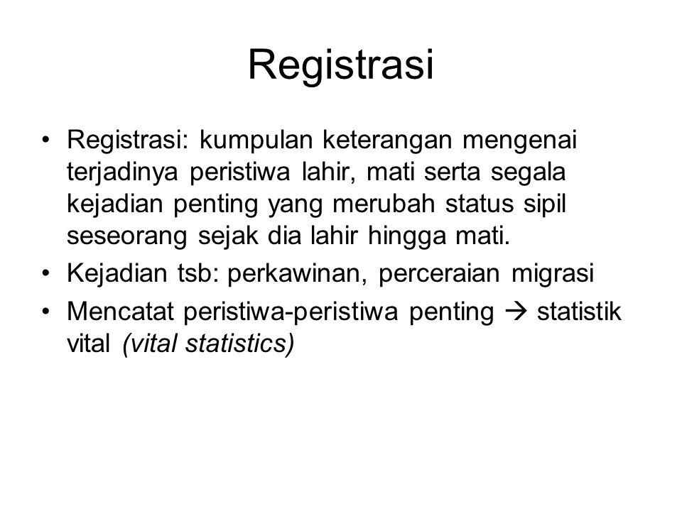 Registrasi Registrasi: kumpulan keterangan mengenai terjadinya peristiwa lahir, mati serta segala kejadian penting yang merubah status sipil seseorang