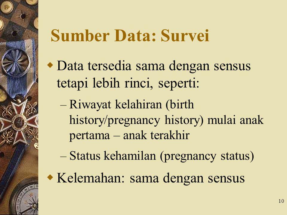 10 Sumber Data: Survei  Data tersedia sama dengan sensus tetapi lebih rinci, seperti: – Riwayat kelahiran (birth history/pregnancy history) mulai ana