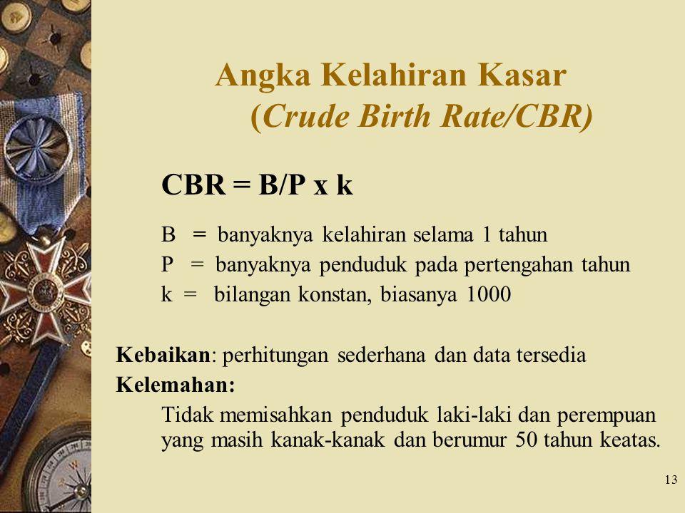 13 Angka Kelahiran Kasar (Crude Birth Rate/CBR) CBR = B/P x k B = banyaknya kelahiran selama 1 tahun P = banyaknya penduduk pada pertengahan tahun k =